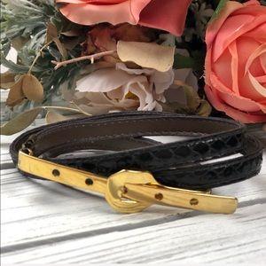 Vintage Genuine Snakeskin Black Skinny Belt